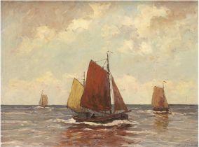 "Harländer, Hans (1880 Hamburg-1943 ebenda) ""Segelboote auf See"", Öl/SH, sign. u.r., 41x50 cm, Rahm"