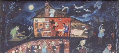"""Gespenstergeschichten"", um 1960, Öl/Hf., unsign., 37x78 cm, Rahmen"