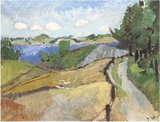 "Hansen, Ingrid (1910-2004) ""Bomhaffshave"", Öl/Lw., monogr. u. dat. '55 u.r., rücks. bez., 57x66 cm,"