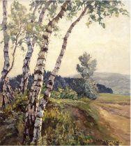 """Herrmann, Willy (1895 Berlin-1963 ebenda) """"Blick nach dem Dreitannenberg, bei Seitendorf in Nieders"""