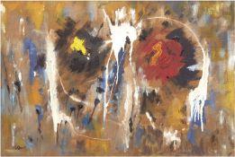 "Elsner, Ottomar (20. Jh.) ""Abstrakte Farbkomposition"", Öl/Hf., sign. u.l., rücks. sign. u. dat. '62"