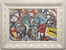"Lesniewicz, Horst (1926 Berlin-2003 ebenda) ""Musiker"", Öl/Spanplatte, sign. u.r., 54x76 cm, Rahmen"