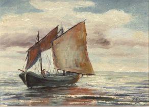 """Stöver, Paula (1918 Bremen-1982 Worpswede) """"Fischerboot auf See"""", Öl/Mp., sign. u.r., 23,5x29 cm, R"""