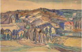 """Tschechischer Maler """"Böhmische Schweiz"""", Gouache, unsign., 40x62 cm, hinter Glas und Rahmen"""