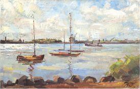 """Monogrammist """"WT."""" """"Flußlandschaft mit Booten"""", Öl/Lw., monogr. u.r., 64,5x96 cm, Rahmen"""