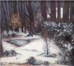 "Daube ""Expressive Winterlandschaft"", um 1960, Öl/Hf., sign. u.l., 62x72 cm, Rahmen"