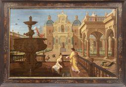 "Gyselaer, Nicolas de (1583-c.1654) ""König David betrachtet die badende Bathseba. Architektur Capric"