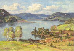 """Halbauer """"Ein Sommertag am See"""", Öl/Lw./Sperrholz, sign. u.l. und dat. 1943, 27x35 cm, Rahmen"""