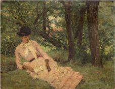 """Bertin, Alexandre """"Auf Waldlichtung sitzende Dame, ein Buch lesend Öl/Lw. auf Holzrahmen aufgenagel"""