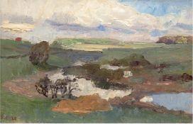 """Expressionist Anf. 20. Jh. """"Norddeutsche Landschaft"""", Öl/Lw., undeutl. monogr. u. dat. '28 u.l., rü"""
