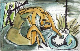 """Manigk, Oskar (1934 Berlin) """"Figürliche Darstellung"""", Aquarell, sign. u.r. und dat. ´97, 50x77,5 cm"""