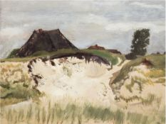 """Umkreis Malweiber Hiddensee um 1950 """"Reetdachkate in den Dünen"""", Öl/Hf., unsign., 26x33 cm, Rahmen"""