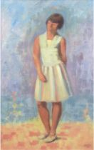 "Niederer, Gen eigentlich Walter Eugen (1881 Stuttgart-1957 Basel) ""Junge Frau in Landschaft"", Öl/Lw"