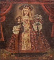 "Cuzco Schule ""Heiligendarstellung"", 19. Jh., Öl/Lw./Mp., 38,5x34 cm, Rahmen"