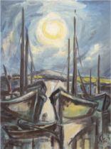 """Monogrammist """"KL"""", Maler der verschollenen Generation """"Fischereihafen bei Sonnenaufgang"""", Öl/Hf., m"""