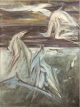"Lüdtke, Werner (1909 Garz/Pommern-1982 Uelzen) ""Kampf der Möwen"", Öl/Hf., sign. u. dat. '61 u.r., r"