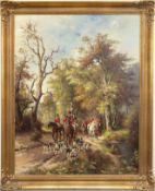 """Altermann, Horst (1925 Düsseldorf-1978 ebenda) """"Parforcejagd"""", Öl/Lw., sign. u.l., 90x70 cm, Rahmen"""