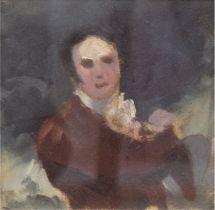 """Faber du Faur von, Hans (in der Art) """"Halbporträt"""" , Ölstudie, unsign., 12,5x12,5 cm, im Passepart"""