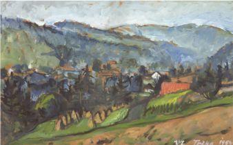 """Trcka, V.L. (Tschechischer Maler) """"Riesengebirge"""", Öl/Mp., sign. u.r. und dat. 1954, 32x43,5 cm, h"""