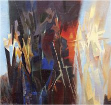 "Meirowsky, Katja (1920 Spremberg-2012 Potsdam) ""Abstrakte Komposition"", Öl/Lw., sign. u.l., 46x37 c"