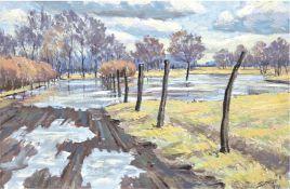 """Seese, Paul-Oskar (1927 Sternberg-2013 Parchim) """"Landschaft"""", Öl/Hf., 44x61 cm, Rahmen"""