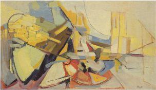 "Hult, Torsten (1922-2012, Schwedischer Maler) ""Abstrakte Komposition"", Öl/Hf., um 1955, sign. u.r.,"