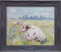 "Dené, Claude (1943) ""Zwei Rotbunte auf der Weide"", Öl/Lw., sign. u.l., 50x60 cm, Rahmen"