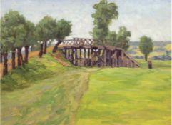 """Schulz-Schwieder, Paul (1872 Wollstein-?) """"Am Kanal"""", Öl/Mp., rückseitig """"Weite Landschaft mit Dorf"""