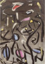 "Blekking, Johannes Hendrik (1952) ""Abstrakte Komposition"", Öl/Lw., rücks. sign. u. dat. '85, 101x70"