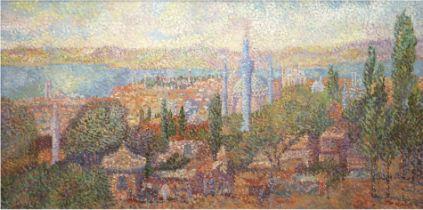 "Reszka, Stan (1924) ""Istanbul"", Öl/Lw., sign. u.r., rückseitig bez. und dat. 1951, 60x120 cm, Rahme"