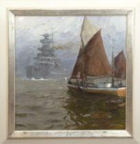 """Sandrock, Leonhard (1867 Neumarkt/Schlesien 1945 Berlin) """"Begegnung auf der Außenelbe"""", Öl/Lw., si"""