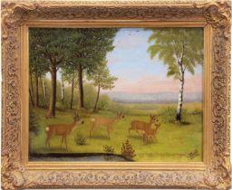 """Hövell, Thea von """"Rehe am Waldrand in der Abenddämmerung"""", Öl/Lw./Pappe, sign. u.r., 20x26 cm, Rahm"""