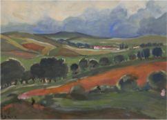 """Degner, Arthur (1887 Gumbinnen-1972 Berlin) """"Landschaft im aufziehendem Gewitter"""", Mischtechnik, si"""