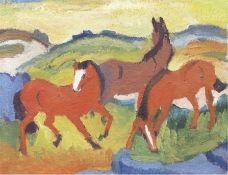 """Köhler-Röber, Minna (1883 Reichenbach-1957 Friesen) """"Rote Pferde"""", Öl/Mk., um 1930, unsign., verso"""