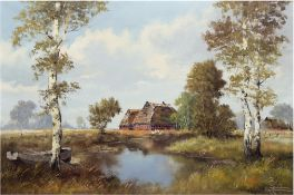 "Zimmermann, Erich (1908 Alefeld/Leine-2007 Osterholz) ""Moorkate bei Worpswede"", Öl/Lw., sign. u.r.,"