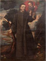 "Cuzco Schule 18. Jh, ""Heiligendarstellung"", Öl/Lw., mehrere Hinterlegungen, craqueliert, 83x60 cm,"