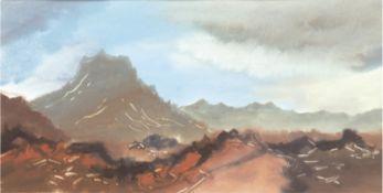 """Landschaftsmaler 20. Jh. """"Gebirgslandschaft"""", Mischtechnik, unsign., 22x41 cm, hinter Glas im Passe"""