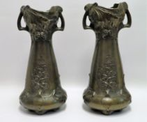 2 Vasen, Jugendstil, um 1900, Keramik mit Galvano-Überzug, gem., 1 x besch., h