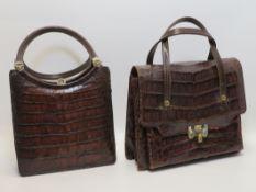 2 Vintage-Handtaschen, Krokodil, Gebrauchsspuren, ca. h 25/26 cm.