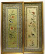 2 Seidenstickereien, China, 1. Hälfte 20. Jahrhundert, 68 x 30 cm, R.