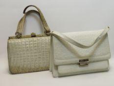 2 Vintage-Handtaschen, Krokodil- und Straußenleder, Gebrauchsspuren, 1 x Henkel