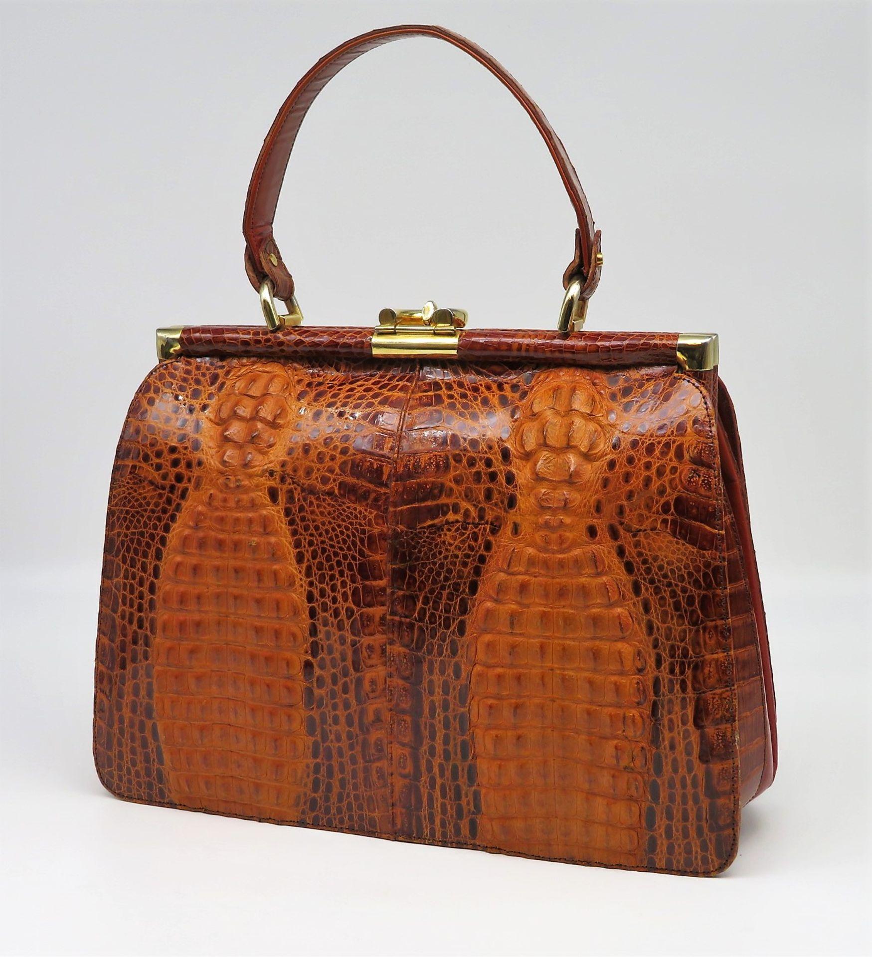 Vintage-Handtasche mit Geldbörse, 1960/70er Jahre, rotbraunes Krokodilleder, sehr guter Erhaltungsz