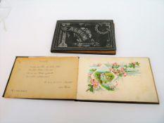 2 Poesiealben, um 1891, geprägte Einbände, 14 x 21 cm.