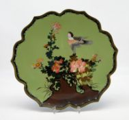 Cloisonné Teller, Japan, Meiji Periode, 1868 - 1912, farbiger Zellenschmelz mit feinem Blumen- und