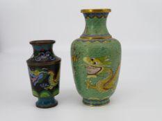 2 Cloisonné Vasen, China, farbiges Cloisonné, h 13/18 cm.