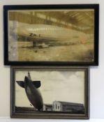 3 Fotografien, Zeppelindarstellungen, ca. 34 x 44 cm, R.