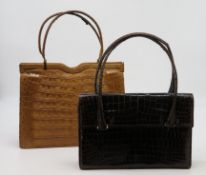 "2 Vintage Handtaschen, 1950er Jahre, Kroko, 1 x sign. ""Comtesse"", ca. 19 x 24 cm."