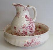 """Waschset, Jugendstil, um 1900, gem. """"Villeroy & Boch Elvira Mettlach"""", Keramik mit weinrotem Rosend"""