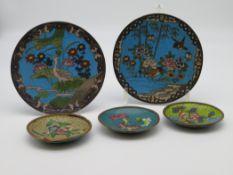 5 diverse Cloisonné Teller, China, farbiger Zellenschmelz, 3 d 9,5 cm, 1 x d 15,5 cm.