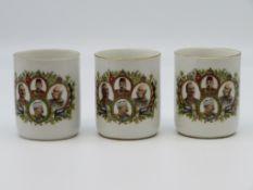 3 patriotische Henkeltassen, 1. Weltkrieg, Weißporzellan mit farbigem Umdruckdekor der Herrscher de